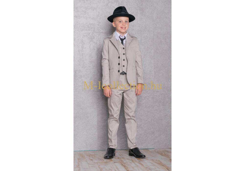 Fiú drapp 3 részes öltöny-gyerekruha webáruház-M-I Collection.hu b2f019b208