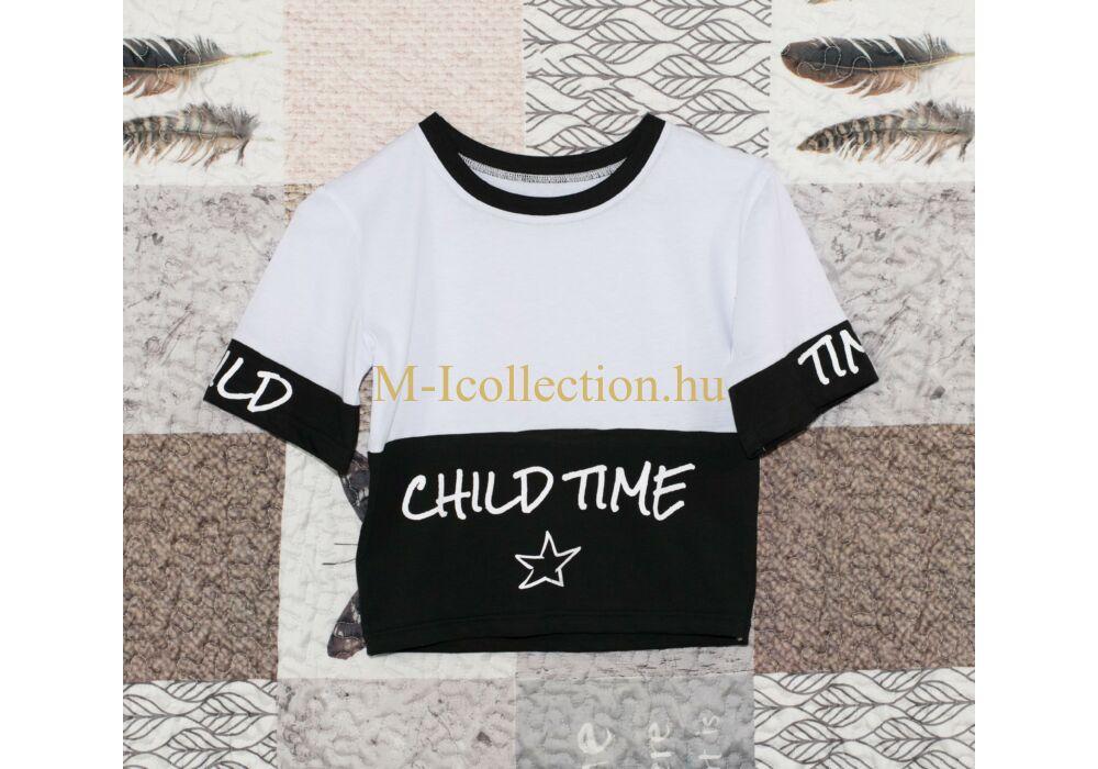 168941d832 Fehér-fekete lány rövid póló - HIP-HOP - Babaruha, gyerekruha ...