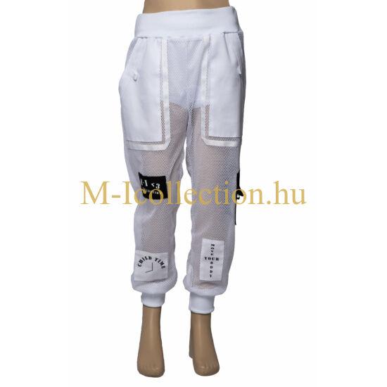 HIP-HOP fehér hálós hosszú nadrág eleje