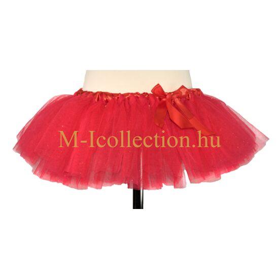 Lány piros csillogós tütü szoknya